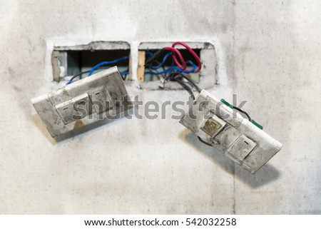 electric in home improvement repair with seen cables
