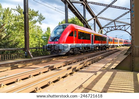 Electric InterCity Express in Frankfurt, Germany in a summer day
