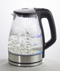 Electric kettle with boiling water