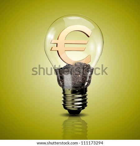 Electric light bulb and currency symbol inside it as symbol of green energy