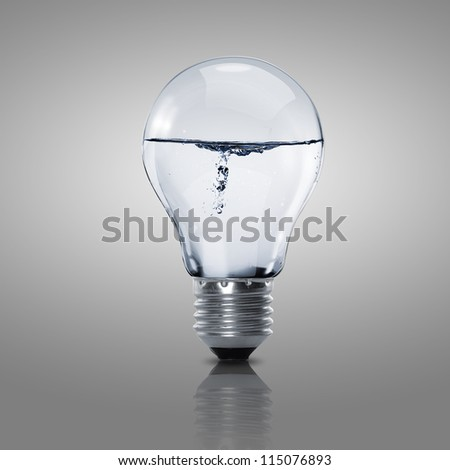 Electric light bulb with clean water inside it