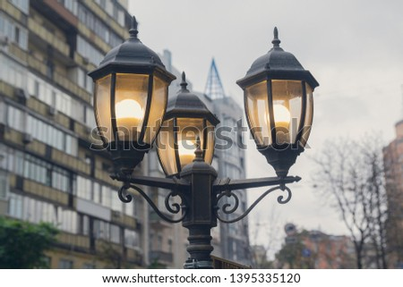 Electric light pole lantern on a city street with two bulb lamps and forged metal retro style #1395335120