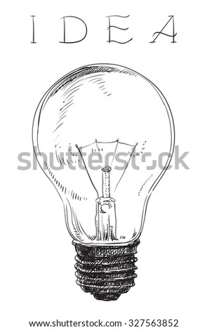 Electric lightbulb.  Light bulb on white background at engraving style.