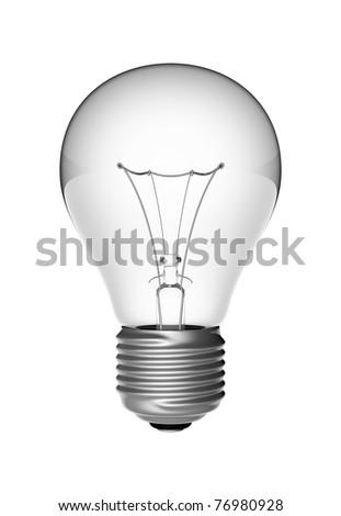 electric lightbulb on white background