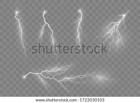 Electric lighting effects. Lightning and thunder, glow and sparkle effect. A symbol of natural strength or magic. Light and shine, abstract, electricity and explosion.