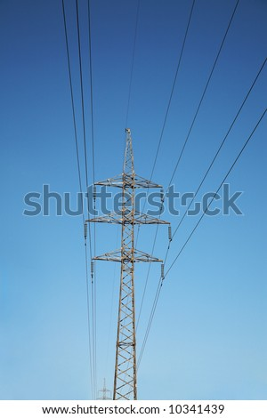 Electric line and dark blue the sky