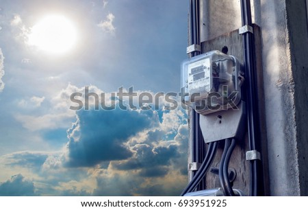 electric meters ,Electric meter at the fire pillar and the sky god.