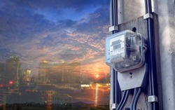 Electric meters energy technology. plant measurement of expense money.