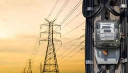 electric meters With high power transmission. High voltage pole cliping part