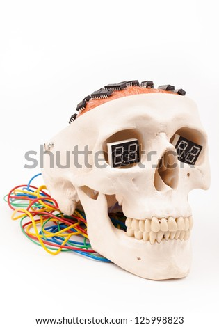 electric micro processors in human scull head  isolated on white