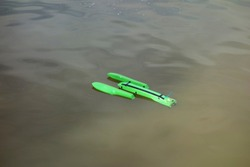 Electric model ship on the lake