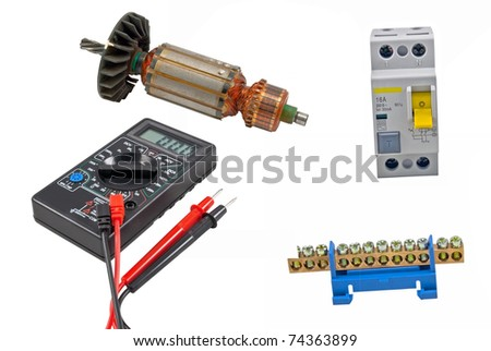 Electric motor rotor, Automatic circuit breaker and Digital multimeter on a white background #74363899