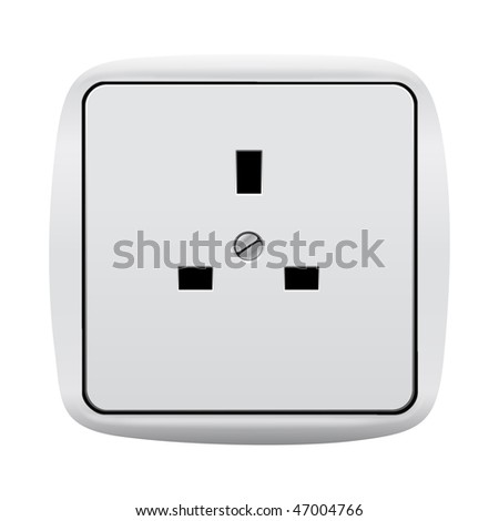 Electric 3-pin wall outlet with clipping path isolated on white background