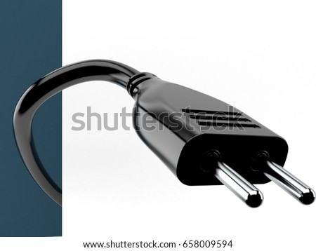 Electric plug on white background. 3d illustration
