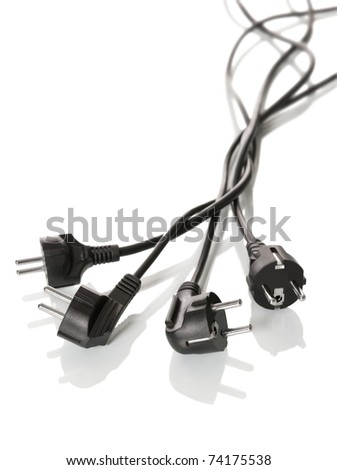 Electric plugs on a white background