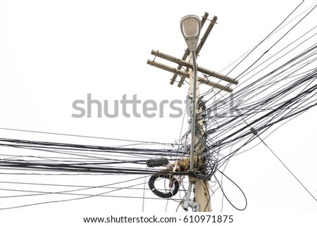 Electric pole, and wire on sky background.