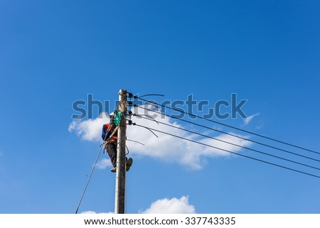 electric pole for install new cable on light poles