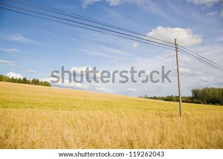 Electric pole on a field