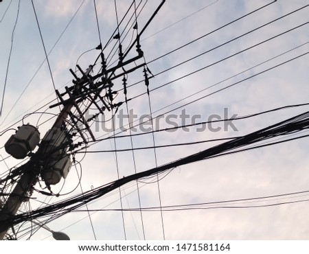 electric pole, telegraph pole, electric wire