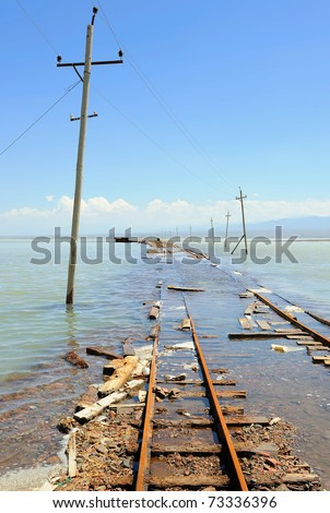 electric poles and rail in water during a spring floods