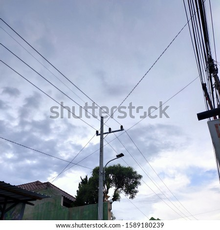 Electric poles in Malang City on Friday afternoon