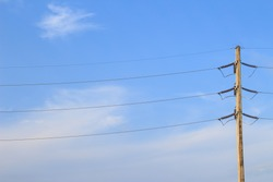 electric post on blue  sky.