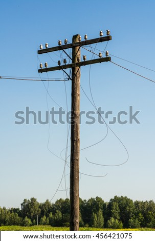 royalty free electric post power pole wire breakage 454776634
