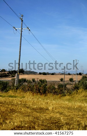 electric posts on a rural landscape #41567275