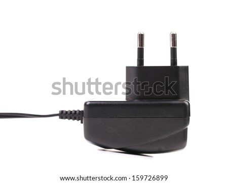 Electric power adapter. Close up. Isolated. On a white background