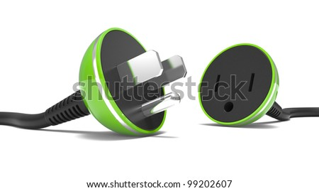 electric power cable, plug and socket unplugged on a white background