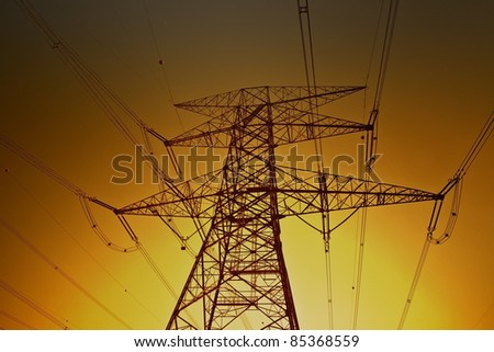 Electric power lines on the golden sky background