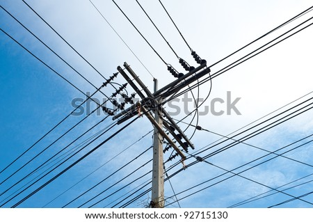Electric power post with wire