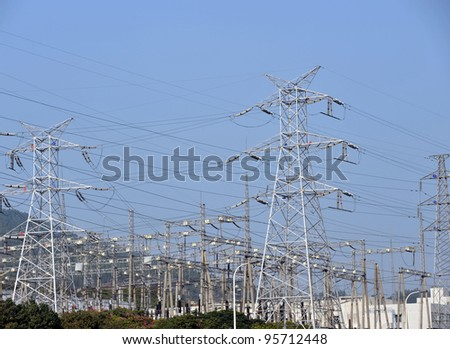 Electric power station with blue sky.