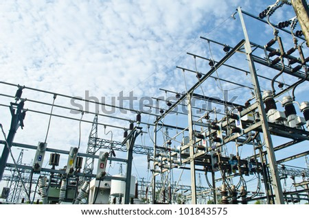Electric power station with blue sky background.