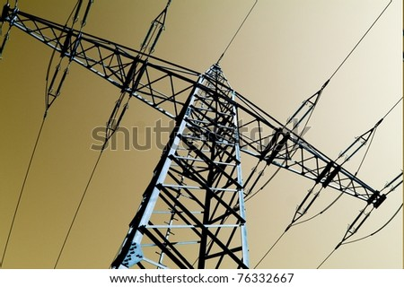 Electric power station with bright sky - stock photo