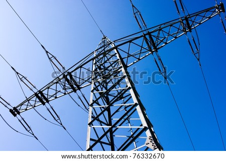 Electric power station with bright sky