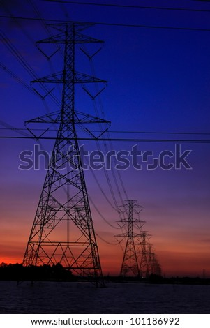Electric power station with sunset time