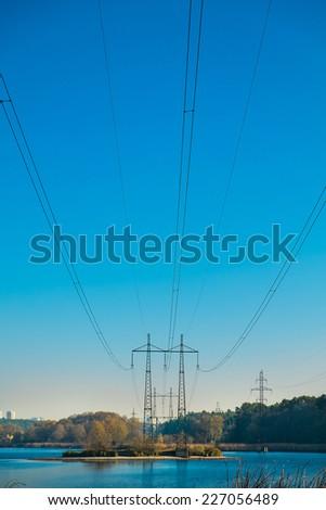 Electric power transferring at lake