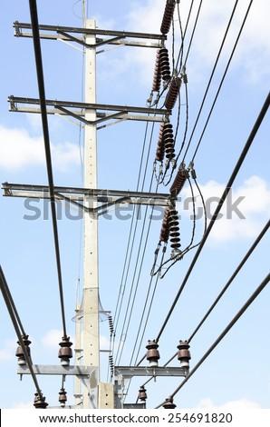 Electric Power transmission lines (115 kV & 24 kV System) against blue sky / Power transmission lines