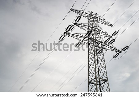 Electric power transmission or power grid pylon wires, transmission tower in Poland, horizontal orientation, nobody.