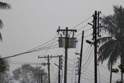 Electric power transmitter on the stick photo capture at Dhaka, Bangladesh.