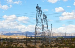 Electric Powerlines and infrastructure in southern california, USA