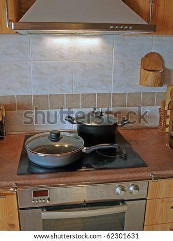 Electric range and oven with the kitchenware