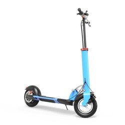 Electric Scooter Isolated on White. Modern Personal Transport. Blue Foldable 400 Watt Motor E-Scooter One-Step Fold for Commute & Travel Side View. Plug-In Electric Vehicle with Step Through Frame