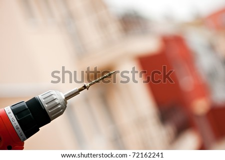 Electric screwdriver with screw