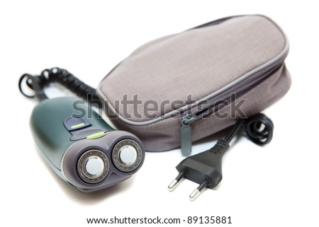 Electric shave isolated on a white background with soft case..