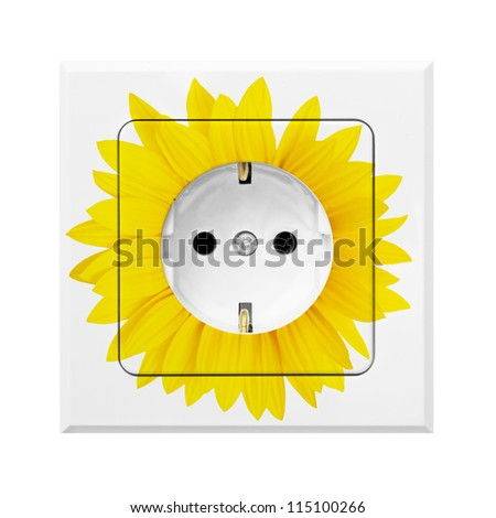 electric socket with flower symbolizing green energy