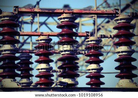 electric switches in an electrical substation hydroelectric power plant with vintage style effect