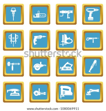 Electric tools icons set in azur color isolated illustration for web and any design