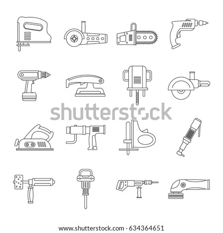 Electric tools icons set. Outline illustration of 16 electric tools  icons for web